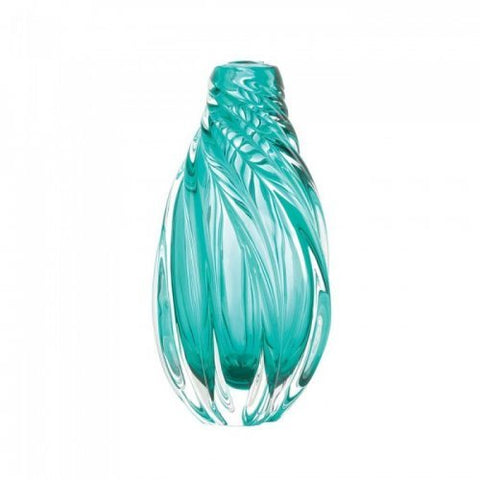 Ocean Aqua Spiral Art Glass Vase
