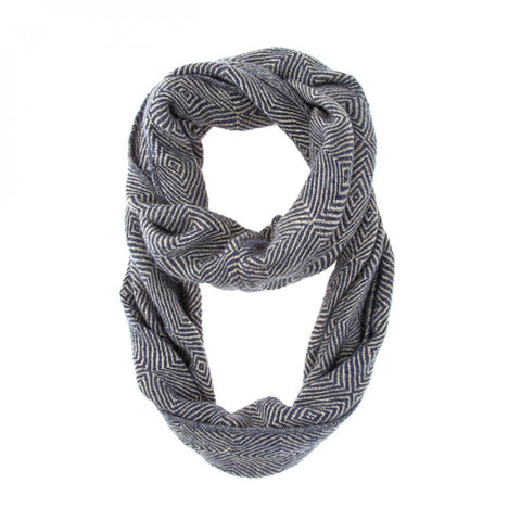Blue Patterned Infinity Scarf