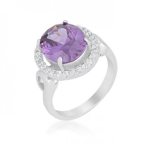 Amethyst Halo Cocktail Ring (size: 07)