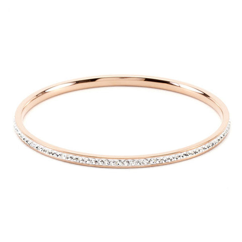 Simple Rose Goldtone Crystal Bangle