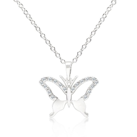 Cz Butterfly Pendant Necklace