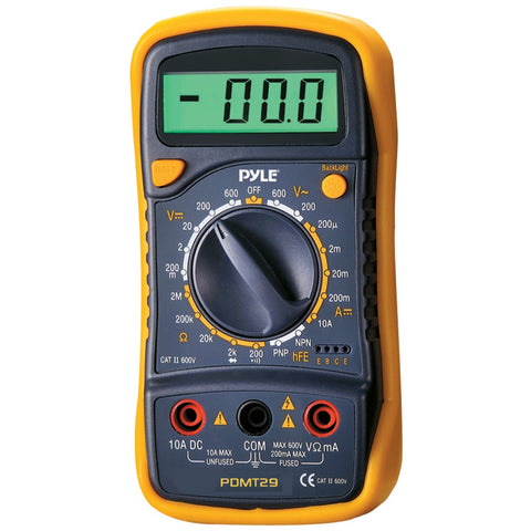 Pyle Digital Lcd Ac Dc Volt Current Resistance & Range Multimeter With Rubber Case & Stand