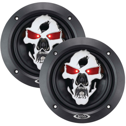 "Boss Audio Phantom Skull Series 3-way Black Injection Cone Speakers With Custom-tooled Removable Skull Cover (5.25"")"