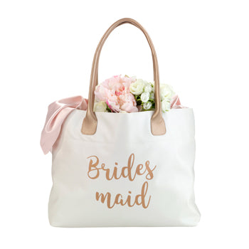 Cream & Gold Bridal Party Tote Bag - Marry Me Wedding Accessories & Gifts