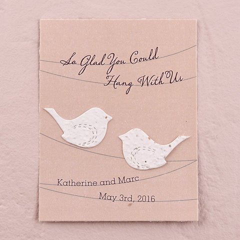 Seed Paper Love Birds Personalized Favor Card - Multiple Colors - Marry Me Wedding Accessories & Gifts - 1
