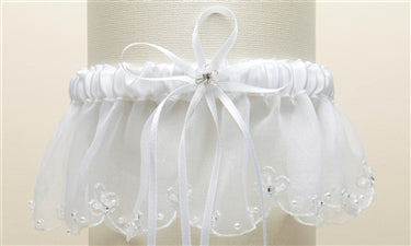 Organza Bridal Garters with Pearls and Chain Edging - White - Marry Me Wedding Accessories & Gifts