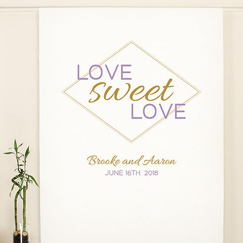 Geo Marble Personalized Premium Canvas Backdrop - Marry Me Wedding Accessories & Gifts
