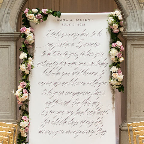 Modern Fairy Tale Personalized  Standard or Premium Canvas Backdrop - Marry Me Wedding Accessories & Gifts