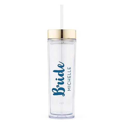 Bridal Party Drink Tumbler -  Bride Retro Luxe Printing - Marry Me Wedding Accessories & Gifts