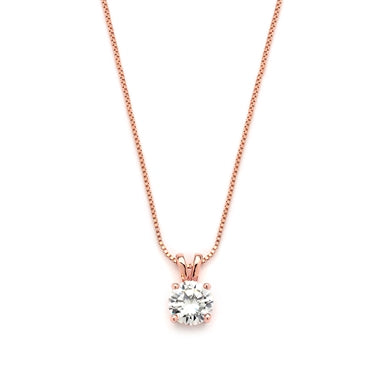 Delicate CZ Round-Cut Necklace with Double Loop Top - Marry Me Wedding Accessories & Gifts