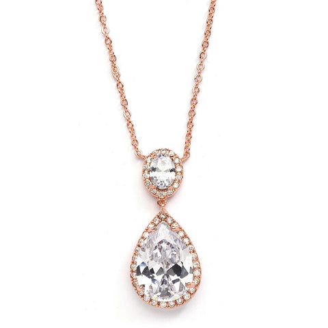 Couture Cubic Zirconia Pear-Shaped Rose Gold Bridal Necklace - Marry Me Wedding Accessories & Gifts
