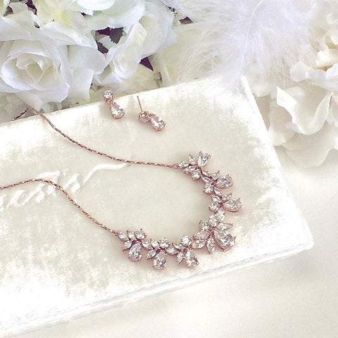 Multi Pear Shaped CZ Necklace Set with in Rose Gold with Delicate Chain - Marry Me Wedding Accessories & Gifts