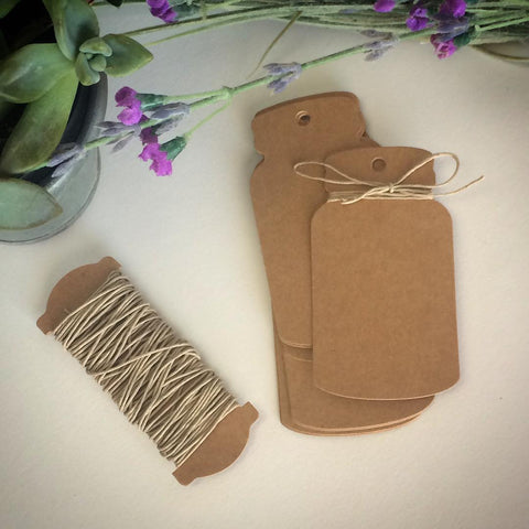 Kraft Paper Mason Jar Favor Tag with Twine - Marry Me Wedding Accessories & Gifts