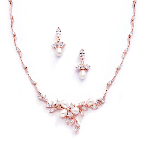 Rose Gold and Freshwater Pearls in CZ Leaves Necklace & Earrings Set
