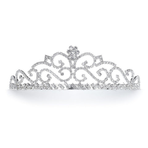 Rhinestone Prom or Quinceanera Scroll Tiara - Marry Me Wedding Accessories & Gifts