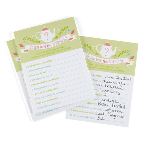 Tea Time Bridal Shower Game Card - Marry Me Wedding Accessories & Gifts