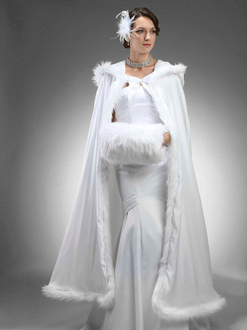 Full Length Hooded Satin Bridal Cloak with Faux Angora Trim - Marry Me Wedding Accessories & Gifts