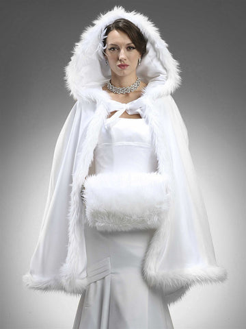 Mid Length Hooded Satin Bridal Cloak with Faux Angora Trim - Marry Me Wedding Accessories & Gifts