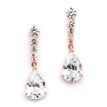 Rose Gold Cubic Zirconia Pears Dangle Earrings with Graduated Top - Marry Me Wedding Accessories & Gifts