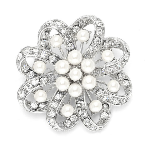 Regal Crystal & Pearl Swirl Vintage Wedding Brooch - Marry Me Wedding Accessories & Gifts