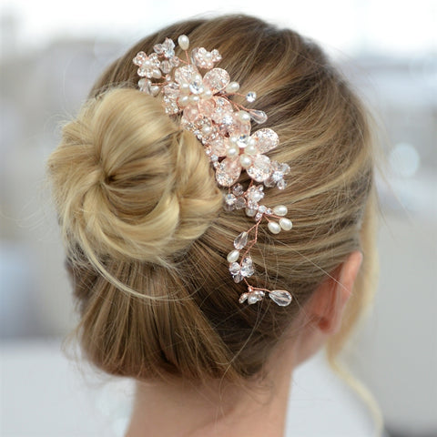 Fabulous Rose Gold Wedding or Brides Hair Comb with Pearl and Crystal Sprays - Marry Me Wedding Accessories & Gifts