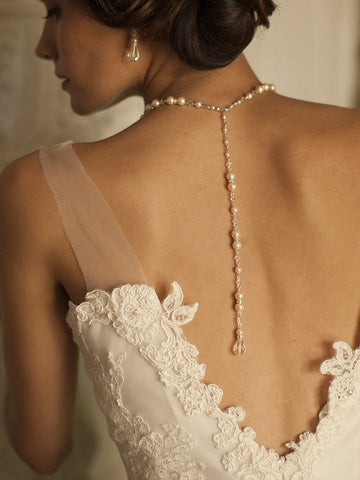 Alluring Wedding Back Necklace with White or Ivory Pearls & Crystals - Marry Me Wedding Accessories & Gifts