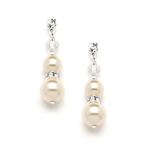 Double Ivory Pearl Dangle Earrings with Rondels & Stud Top - Marry Me Wedding Accessories & Gifts