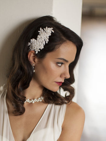 Ivory or White Beaded Lace Applique Wedding Comb - Marry Me Wedding Accessories & Gifts - 1