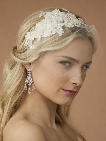Handmade Wedding Headband with Ivory European Lace Applique & Petite Veil - Marry Me Wedding Accessories & Gifts - 1