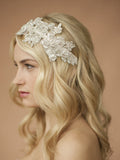Sculptured White Lace Wedding Headband with Crystals & Beads - Marry Me Wedding Accessories & Gifts