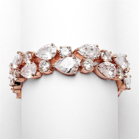 Red Carpet Bold CZ Pears Bridal Statement Bracelet in Rose Gold - Marry Me Wedding Accessories & Gifts
