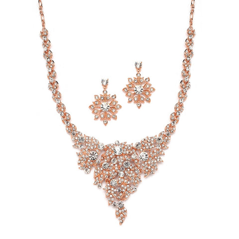 Rose Gold & Crystal Statement Necklace Set - Marry Me Wedding Accessories & Gifts