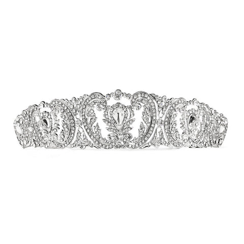 Retro Chic Vintage Wedding Tiara with Pave Crystals - Marry Me Wedding Accessories & Gifts