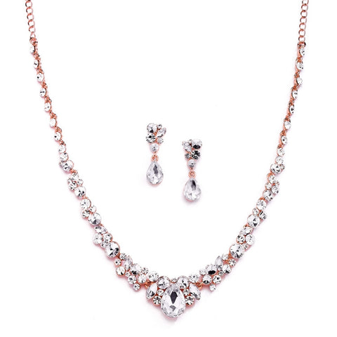 Regal Rose Gold Crystal Bridal or Prom Necklace & Earrings Set - Marry Me Wedding Accessories & Gifts
