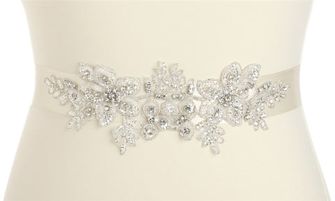 Breathtaking Handmade Bridal Sash with European Crystal Beaded Applique - Marry Me Wedding Accessories & Gifts