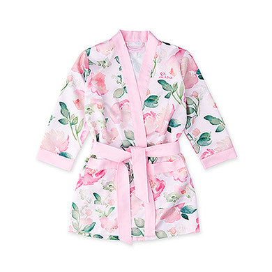 Watercolor Floral Silky Kimono Robe - Flower Girl - Marry Me Wedding Accessories & Gifts