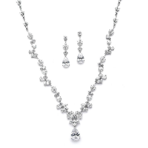 Luxurious CZ Vine Wedding Necklace and Earrings Set - Marry Me Wedding Accessories & Gifts