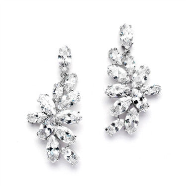 CZ Cluster Wedding Earrings with Marquis Leaves - Marry Me Wedding Accessories & Gifts