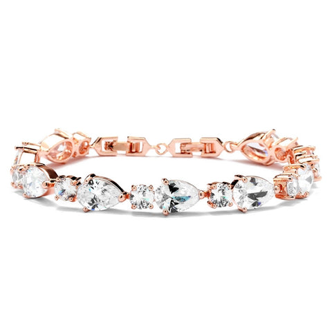 CZ Pears and Rounds Bridal or Bridesmaids Rose Gold Bracelet - Marry Me Wedding Accessories & Gifts