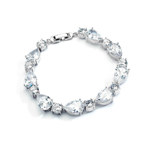CZ Pears and Rounds Bridal or Bridesmaids Bracelet - Marry Me Wedding Accessories & Gifts