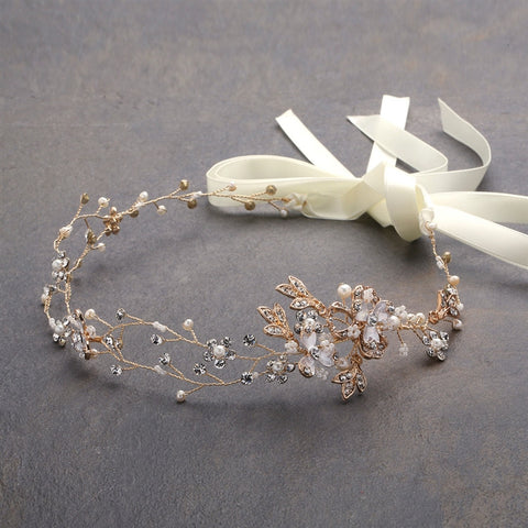 Handmade Bridal Headband with Painted Gold Vines - Marry Me Wedding Accessories & Gifts
