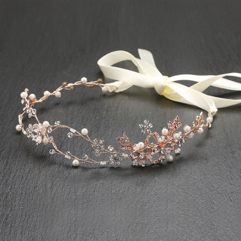 Handmade Bridal Headband with Painted Rose Gold Vines - Marry Me Wedding Accessories & Gifts