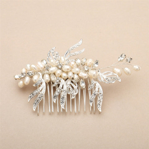 Freshwater Pearl and Crystal Bridal Hair Comb with Graceful Silver Leaves - Marry Me Wedding Accessories & Gifts