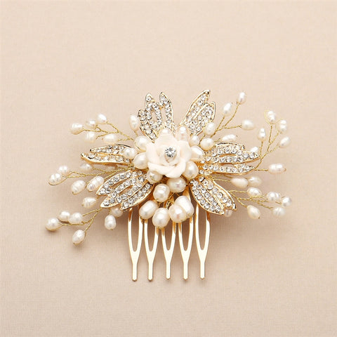 Golden Freshwater Pearl Wedding Comb with Pave Crystals and Delicate Flower - Marry Me Wedding Accessories & Gifts