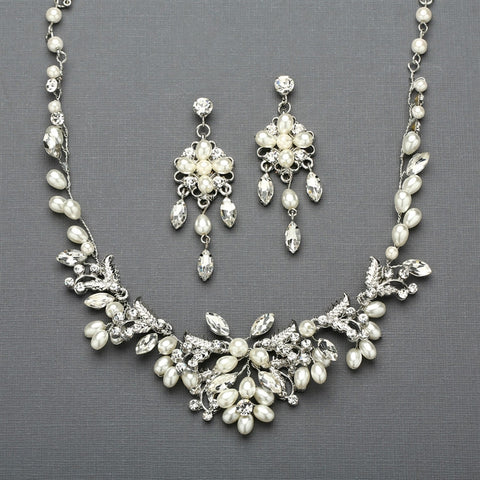 Silver Vine Bridal Necklace and Earrings Set with Freshwater Pearls