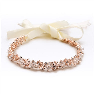 Slender Rose Gold Bridal Headband with Hand-wired Crystal Clusters and Ivory Ribbons - Marry Me Wedding Accessories & Gifts