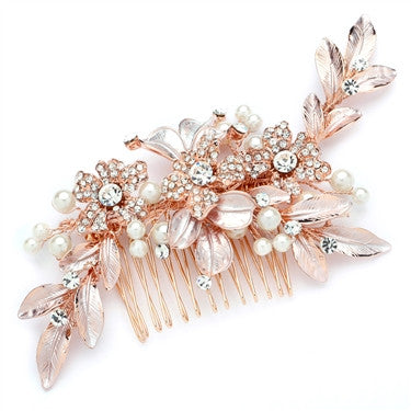 Designer Bridal Hair Comb with Hand Painted Rose Gold Leaves and Pave Crystals - Marry Me Wedding Accessories & Gifts