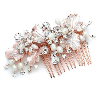 Couture Bridal Hair Comb with Hand Painted Rose Gold Leaves, Freshwater Pearls and Crystals - Marry Me Wedding Accessories & Gifts