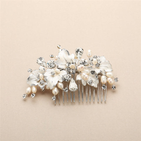 Couture Bridal Hair Comb with Hand Painted Silver Leaves, Freshwater Pearls and Crystals - Marry Me Wedding Accessories & Gifts