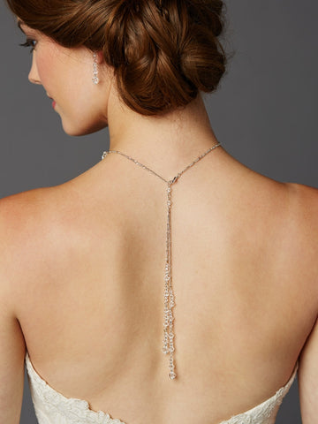 Handmade Crystal Back Necklace with Two Dangles - Marry Me Wedding Accessories & Gifts
